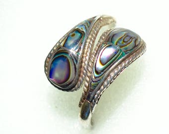 Vintage Taxco Hand Crafted Silver and Abalone Ring 1960s