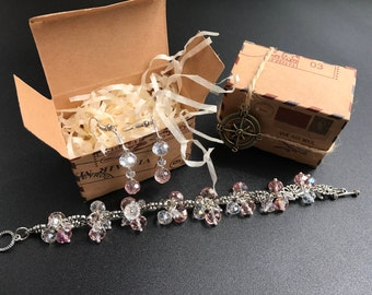 Set of Bracelet and earrings from crystal