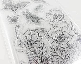 Clear stamp set acrylic silicone stamp poppy flowers Butterfly Dragonfly Hummingbird garden scrapbooking scrapbook clear stamps