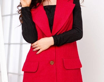 Red cardigan sleeveless Wool Trench coat vest Womens Trench Coat sleeveless Wool jacket Oversize cardigan Red Trench Coat sleeveless