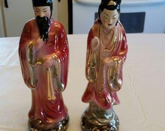 "antique set of 2 oriental 10"" man & 9"" women figurine statues warranted 22k gold - japanese chinese art deco vintage japan usa asian figures"