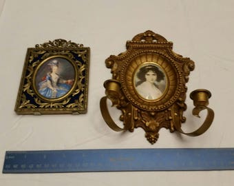 2 vintage woman picture photos frames victorian ornate style - wall hanging sconce candle holders - gold tone italy metal brass art deco