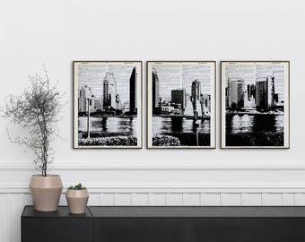 Set of 3 San Diego dictionary prints San Diego skyline poster panorama San Diego panoramic print black and white Gas Lamp wall art nyc decor