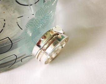 Silver Spinning Ring, Sterling Silver Heart Spinner Ring, Spin Ring, Fidget Ring, Copper Heart Ring, Anxiety Ring, Worry Ring