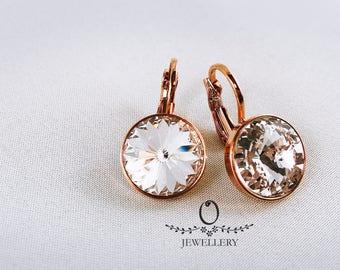 Rose gold coloured Swarovski Crystal earrings