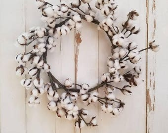 Cotton Wreath - Cotton Blossom Wreath - Farmhouse Wreath - Southern Wreath - Fixer upper Wreath - Farmhouse Decor- magnolia wreath
