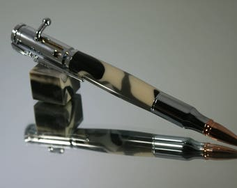 DISCOUNTED - 30 Cal bolt action pen with camouflage acrylic design and Silver hardware,  Handmade Pen.