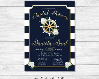 Nautical Bridal Shower Invitation, Navy and Gold Bridal Shower Invitation, Shipswheel Invitation, *DIGITAL FILE*