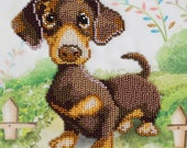 Dachshund; Beads embroidery kit; contemporary embroidery; gift idea; needlepoint design; decor; seed beads Preciosa; Christmas Gift