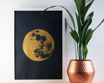 Large Moon Print, Gold Print, Realistic Moon, Boho, Bohemian, Poster, A2 Art Print, Print, Screenprint, Gift Idea, Print