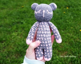 Crochet Bear, crochet sleeping bear, plush bear, amigurumi crochet toy, crochet stuffed animal, crochet animals, crochet plush toy, soft toy
