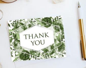 Wedding Thank You Card, Custom Wedding Thank You Cards Botanical Wedding Thank You Cards Vintage Rustic Wedding Cards Rose1