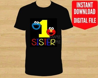 Sesame Street Birthday Iron On Shirt Transfer, Elmo Cookie Monster printable, Sister of the Birthday Boy Girl, age 1 Black Background