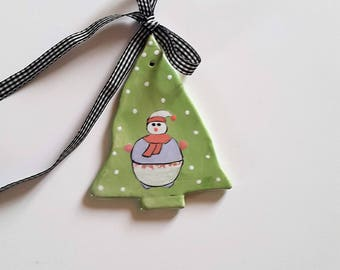 "Christmas tree ""Snowman"" ceramic hanging hand made, handmade, holiday ceramic Christmas tree decoration to hang, tree"