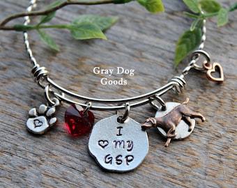 German Shorthaired Pointer Bracelet, GSP Jewelry, GSP Mom, I Love My GSP, I love my dog, Valentine's Day Gift, Heart Dog