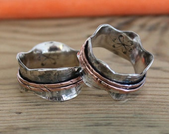 Copper and Silver Spinner ring - Worry Ring - 925 Sterling Spinner ring  - oxidised silver - Personalised - Handmade - Personalized