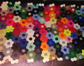 Handmade Plaid 191 x 105 cm, or new way vintage bed throw, made crochet blanket, wool, Hexagon patterns