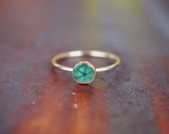 One of a kind Trapiche Emerald dainty stacking ring | 14K gold fill | natural rare spokes