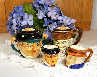 Vintage TOBY SUGAR & CREAMER w 2 Mini Mugs Toby Set Mid Century Japan Ceramic Novelty Toby Sugar Bowl and Cream Pitcher