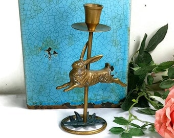 BUNNY CANDLEHOLDER Vintage Brass Rabbit Candlestick Holder Easter Candle Holder