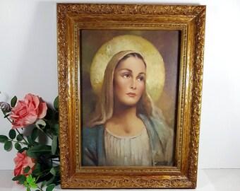 FRAMED MADONNA Virgin Mary Framed Catholic Art Print Gift by Florence Kroger Mid Century Religious Art Blessed Virgin