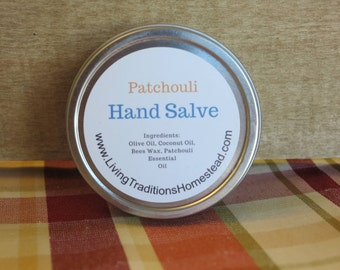 Patchouli Hand Salve 2 oz, Natural Skin Care, Natural Hand Balm, Hand Salve, Hand Moisturizer, Balm, Hand Cream, Stocking Stuffer