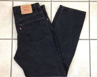 Vintage Levi's USA Made Black 505 Regular Fit Straight Leg Jeans - 38x31 (actual)