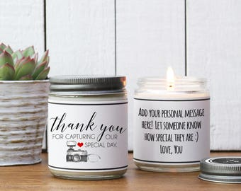 Thank You For Capturing Our Special Day Candle Gift | Photographer Thank You Gift | Wedding Day Thank You Gift | Wedding Day of Gift