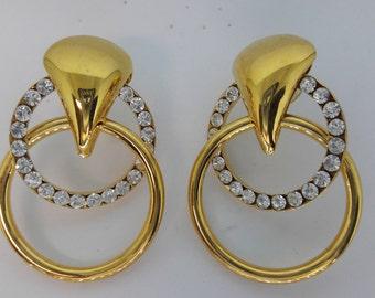 Crystal Clear Rhinestone Gold Plated Vintage Pierced Earrings