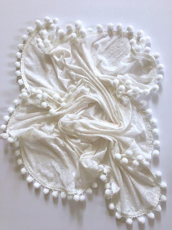 White Pom Swaddle Blanket