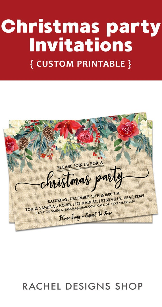 Rustic Christmas Party Invitation Rustic Christmas Invitation