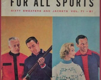 1950s Knit Pattern Book 1958 The Bernat Book for All Sports Sweaters and Jackets Vol 71, 50s Men Knitting Magazine Knitwear, Mens Magazine
