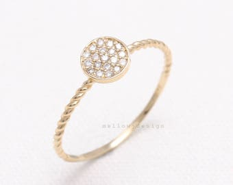 Cubic Zirconia Pave Circle 14K Solid Gold Stacking Ring, CZ Twisted Band Ring