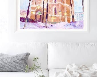 Oil painting framed art Cathedral Kiev Ukraine t Christmas present Gift for Her Drawing 2017