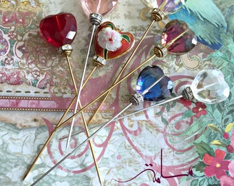 Crystal heart hijab pins, hat pins, brooch pins.