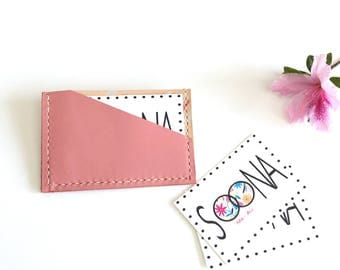 Pink Leather Card Holder, Hand painted card case.