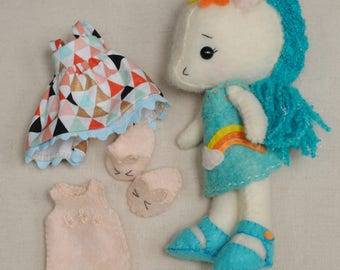 Gingermelon Rainbow Wool Unicorn Doll