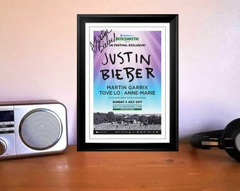 Justin Bieber Hyde Park London 2017 Concert Tour Flyer Autographed Signed Print