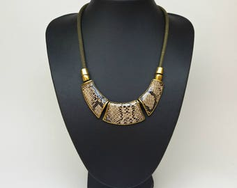 Animal print bib statement necklace, Sparkle Gothic Punk Snake Resin Chain, Unique jewelry, Antique gold necklace, Girls necklace,