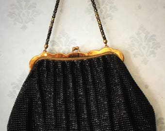 Vintage Black and Gold Mesh Purse by Whiting and Davis