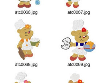 Cooking-Bears ( 10 Machine Embroidery Designs from ATW ). XYZ17F