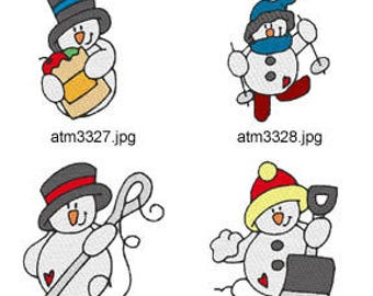 Day-Of-The-Week-Snowmen ( 7 Machine Embroidery Designs from ATW ) XYZ17M