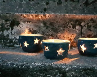 Starry blue lumineers for tea light candles