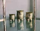 Vintage Trio of Brass Owls / Family of Three (3) Brass Owls Decor