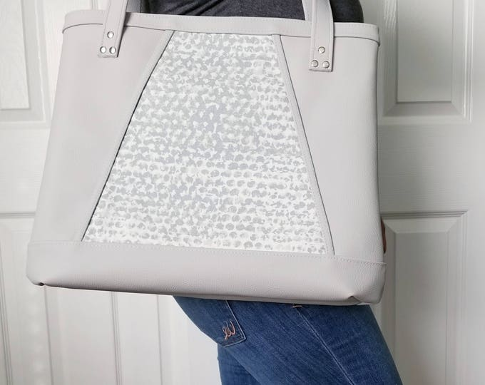 Featured listing image: Gray Handbag, Gray Faux Leather Handbag, Tote Bag, Travel Bag, Diaper Bag, Laptop Bag, Large Handbag, Work Bag, Gray Print, Teal Bag