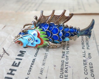 Vintage Blue Enamel Articulated Fish Pendant, Wiggly Vermeil Filigree Dragon Fin Koi Fish, Chinese Export