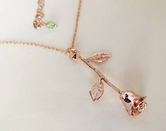 Rose Necklace, Personalized Initial,Rose charm, Birthday stone,rose golden chain Necklace for BFF ,Valentine's Day gift, gift for her,Mom