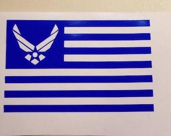 American flag Air Force Decal - patriotic permanent vinyl - perfect for Yeti/Rtic tumbler cups, truck windows, coolers, lockers, etc.
