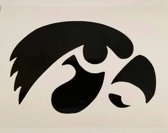 Iowa hawkeyes Decal - permanent vinyl - perfect for Yeti & Rtic cups, car windows, dorm room doors etc.  Iron-on also available.