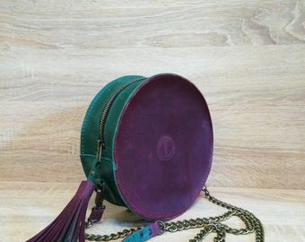 Round Bag - Women's Bag - Two-tone Bag - Stylish Bag - Leather Bag - Hand made - Personalization - Leather Crazy Horse - Gift - Purple bag